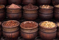 Morocco Spices in typical clay pots Royalty Free Stock Images
