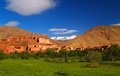 Morocco village in mountains snow peak and green grass Royalty Free Stock Image