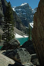 Morraine lake banff national park alberta canada rockslide boulder pile Stock Photography