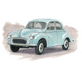 Morris minor illustration of a Stock Photo
