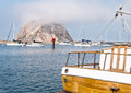 Morro rock view of from the bay marina Stock Photos