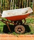 Mortar cart old in garden Stock Photography