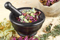 Mortar and pestle with healing herbs Stock Images