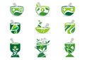 Mortar and pestle logo pharmacy logos medicine herbal nature illustration set of symbol icon vector design collection Stock Photography