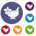 Mortar and pestle pharmacy icons set