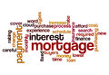 Mortgage interest payment concept background word cloud on white Stock Photography