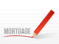 Mortgage written on a notepad paper illustration design Royalty Free Stock Image
