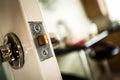Mortice lock a door on a wooden door Royalty Free Stock Photos