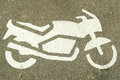 Mortorcycle Parking Icon Painted Concrete Stock Photography