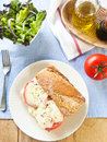 Morzarella sandwich melt mozzarella on wholewheat baguette Stock Images