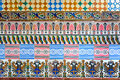 Mosaic of ancient colorful azulejos (spanish ceramic tiles) Royalty Free Stock Photo