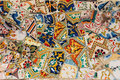 Mosaic on a bench in Park Guell. Gaudi. Barcelona. Spain Royalty Free Stock Photo