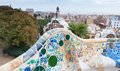 Mosaic benches at the park guell barcelona in spain Royalty Free Stock Photo