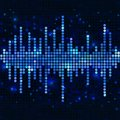Mosaic blue equalizer sound wave with sparkling spots vector music background Royalty Free Stock Photo
