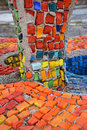 Mosaic blue red yellow green orange fountain pebbles realize stones architecture of the ussr Royalty Free Stock Photo