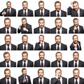Mosaic of businessman expressing different emotions. Royalty Free Stock Photo