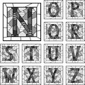 Mosaic capital letters alphabet patterned lines set of monochrome in square frame part Stock Image