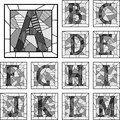 Mosaic capital letters alphabet patterned lines. Royalty Free Stock Photo