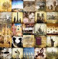 Mosaic collage of vintage images Royalty Free Stock Photo