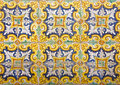 Mosaic of colorful ceramic tiles with floral style ancient Royalty Free Stock Image