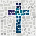 Mosaic cross jesus Stock Photos