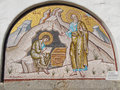 A mosaic depicting the recitation of the Revelation, over the door of the Monastery of Saint John Royalty Free Stock Photo