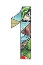 Mosaic digit 1