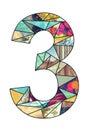 Mosaic digit 3