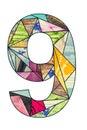 Mosaic digit 9