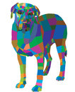 Mosaic dog abstract geometric pattern on a white background Stock Photography