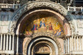 Mosaic at the entrace to san marco basilica in venice italy Stock Photo