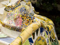 Mosaic by gaudi antoni ceramic design in guell park barcelona spain guell park was designed antnoi between and is now a Royalty Free Stock Photo