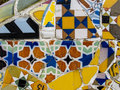 Mosaic by gaudi antoni ceramic design in guell park barcelona spain guell park was designed antnoi between and is now a Royalty Free Stock Photos