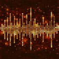 Mosaic gold equalizer sound wave with sparkling spots vector music background Royalty Free Stock Photos