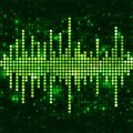Mosaic green equalizer sound wave with sparkling spots vector music background Stock Photography