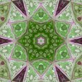 Mosaic green geometric pattern, medieval mosaic glass rose with little white flowers Royalty Free Stock Photo