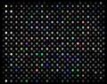 Mosaic holographic shimmer texture. Disco party decor background. Multicolor lights on black backdrop.