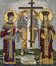 Mosaic icon of Saint Konstantin and Saint Helena in Serbian Orthodox Christian monastery Ostrog, Montenegro. Holy Cross Day. Royalty Free Stock Photo
