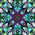 Mosaic kaleidoscope seamless pattern background - multi colored with black grout