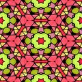 Mosaic kaleidoscope seamless pattern background - pink green yellow colored with color black grout