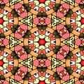 Mosaic kaleidoscope seamless pattern background - pink, orange and green colored with black grout