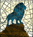 Mosaic lion editable vector illustration of a male standing on a rocky outcrop Royalty Free Stock Images