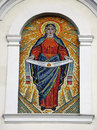 Mosaic of most holy our lady on the facade church dormition in horodenka town ivano frankivsk region Stock Images