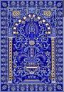 Arabic tile fresca flower blue light blue