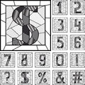 Mosaic numeric figures patterned lines set of in square frame Royalty Free Stock Photos