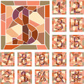 Mosaic numeric figures set of in square frame Stock Images