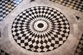 Mosaic patterned floor circular black and white Royalty Free Stock Photo