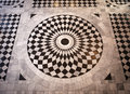 Mosaic patterned floor circular black and white Royalty Free Stock Image