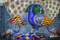 Mosaic peacock in rajasthan blue sculpture city palace museum of udaipur india Stock Photography