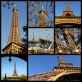 Mosaic photos of the Eiffel tower in Paris Stock Images